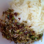 Grated spud, meet sauteed leek