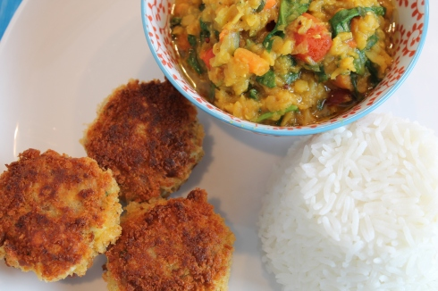 Fish cakes, with dhal and rice